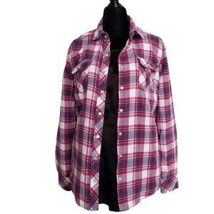 BC CLOTHING Pink White & Purple  Cozy Flannel  S